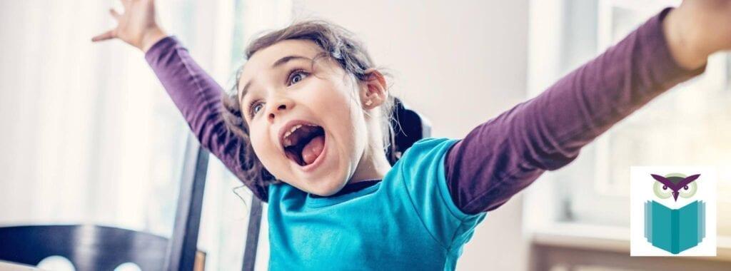 Happy girl in school